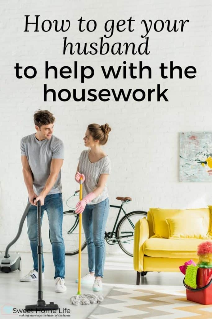 A couple doing the housework together with the text overlay saying, How to get your husband to help with the housework.