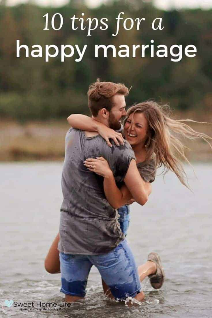 A couple swinging each other around in the water with the text overlay, 10 tips for a happy marriage.