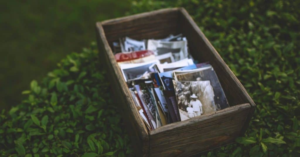 A memory box filled with photos and other important couple memorabilia created as a creative anniversary idea.