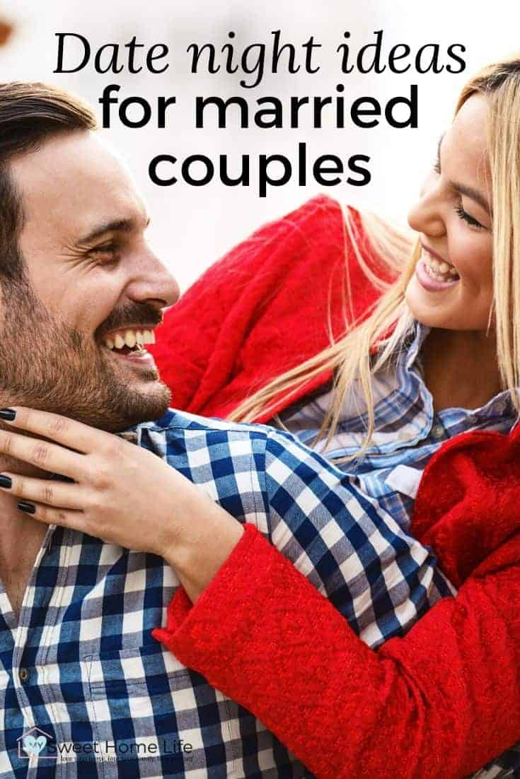 """A woman with a red jacket and a man with a blue and white checked shirt are smiling to each other. The text overlay says, """"Date night ideas for married couples."""""""