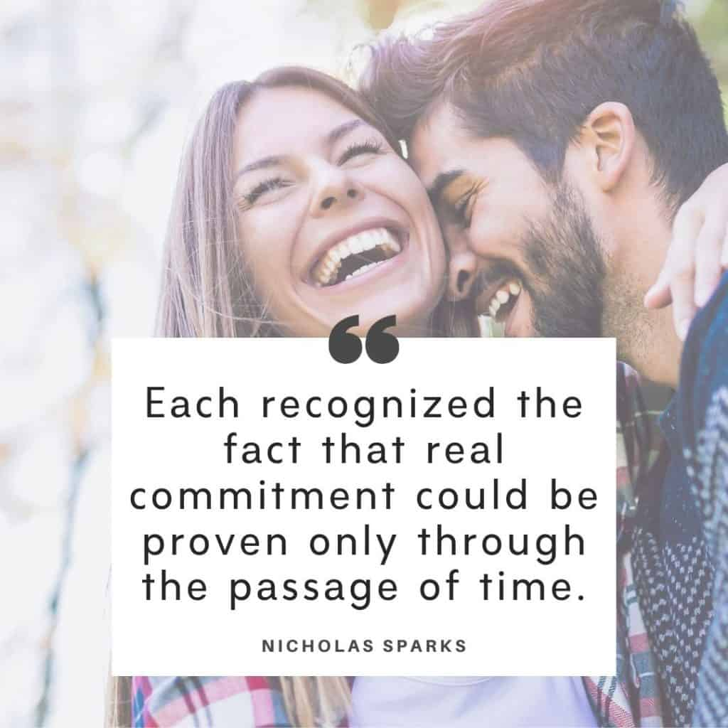 Nicholas Spark quote about marriage with a background image of a couple.