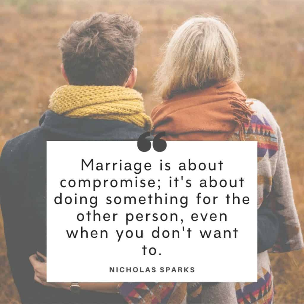 Nicholas Spark quote about marriage being hard work with a background image of a couple.
