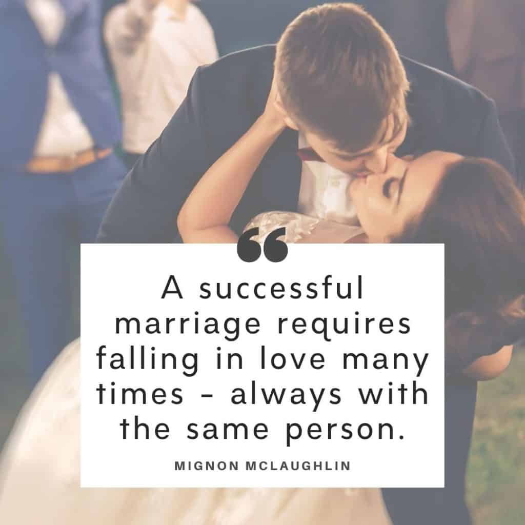 A bride and groom behind a Mignon McLaughlin quote about troubled marriages.