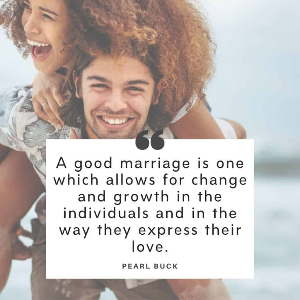 A couple laughing together with an overlay of troubled marriage quotes by Pearl Buck.