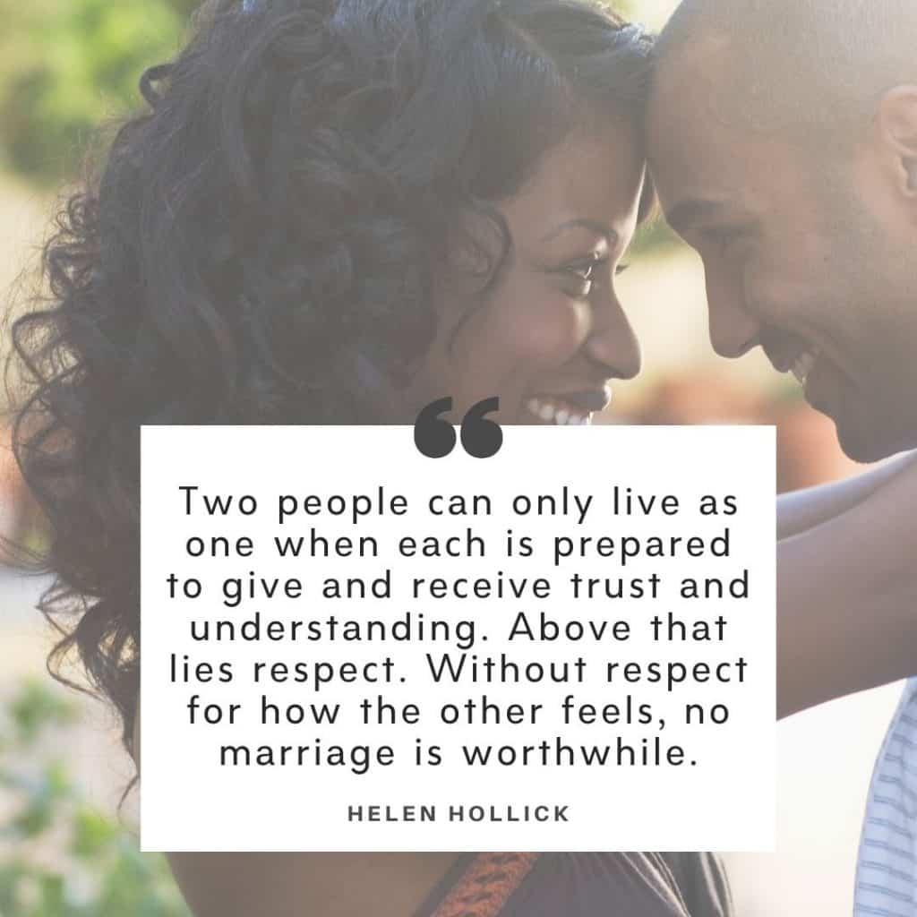 Helen Hollick marriage problems quote. Background image of a black couple holding each other and smiling.