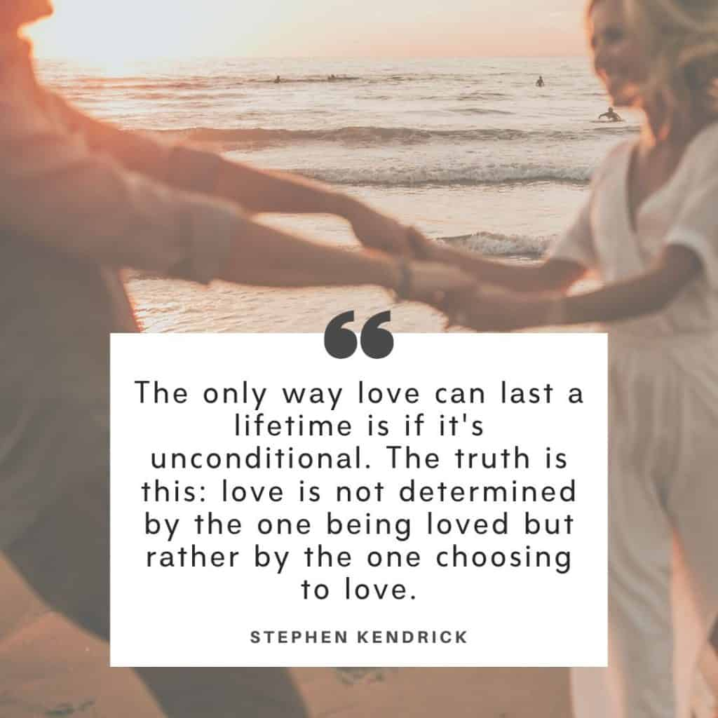 A couple spinning around holding hands at the beach at sunset with a marriage struggle quote by Stephen Kendrick