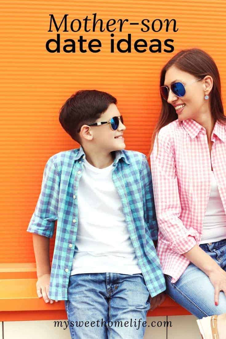 """Mother and teen son having a date with the text overlay, """"Mother-son date ideas."""""""