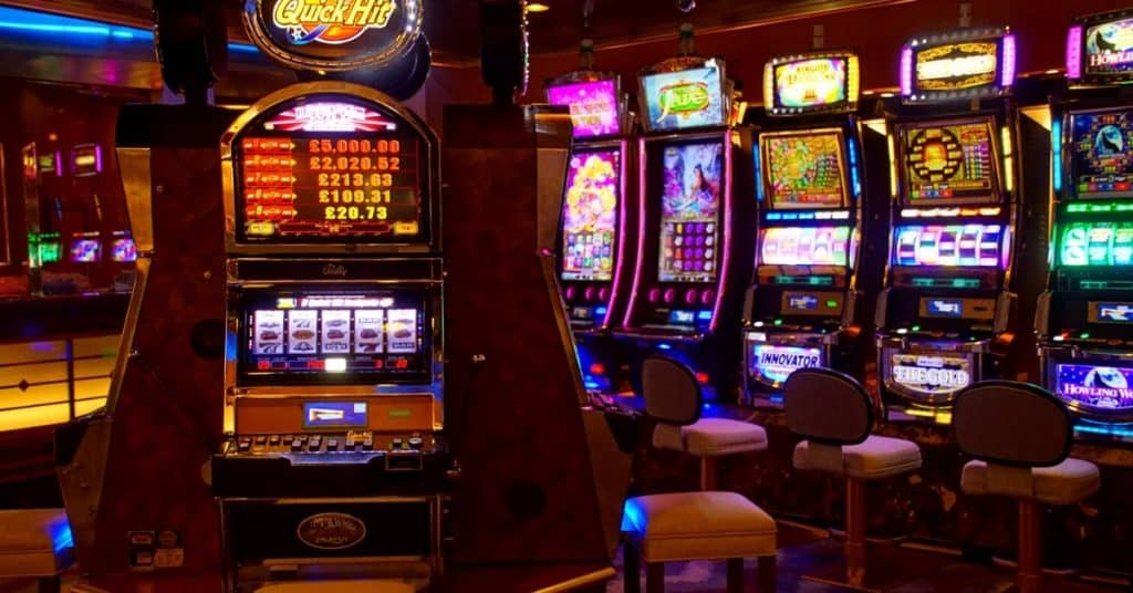 A row of slot machines as one of the rainy day activities for couples.