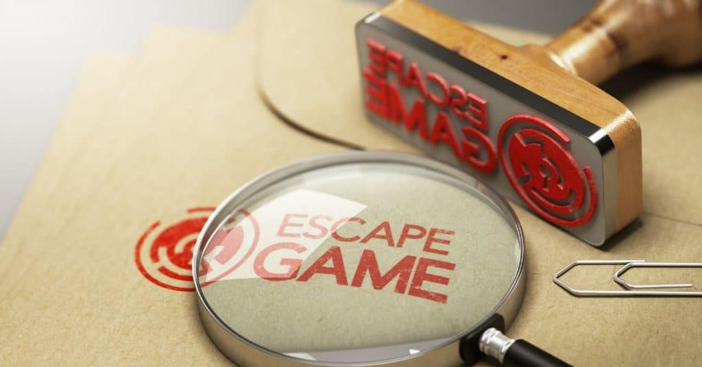 A stamp saying Escape game.