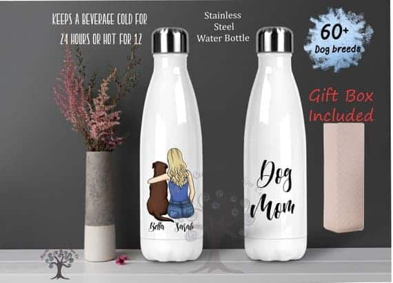 Personalized dog mom water bottle