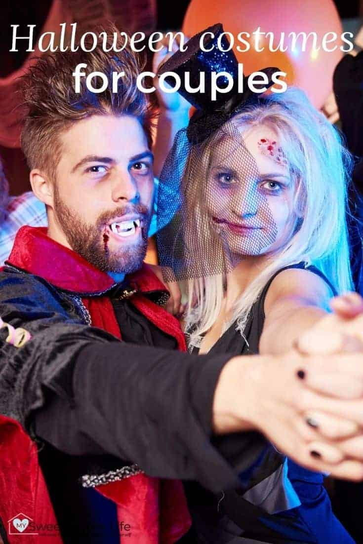 Couple in Halloween costumes with the text overlay, Halloween costumes for couples.