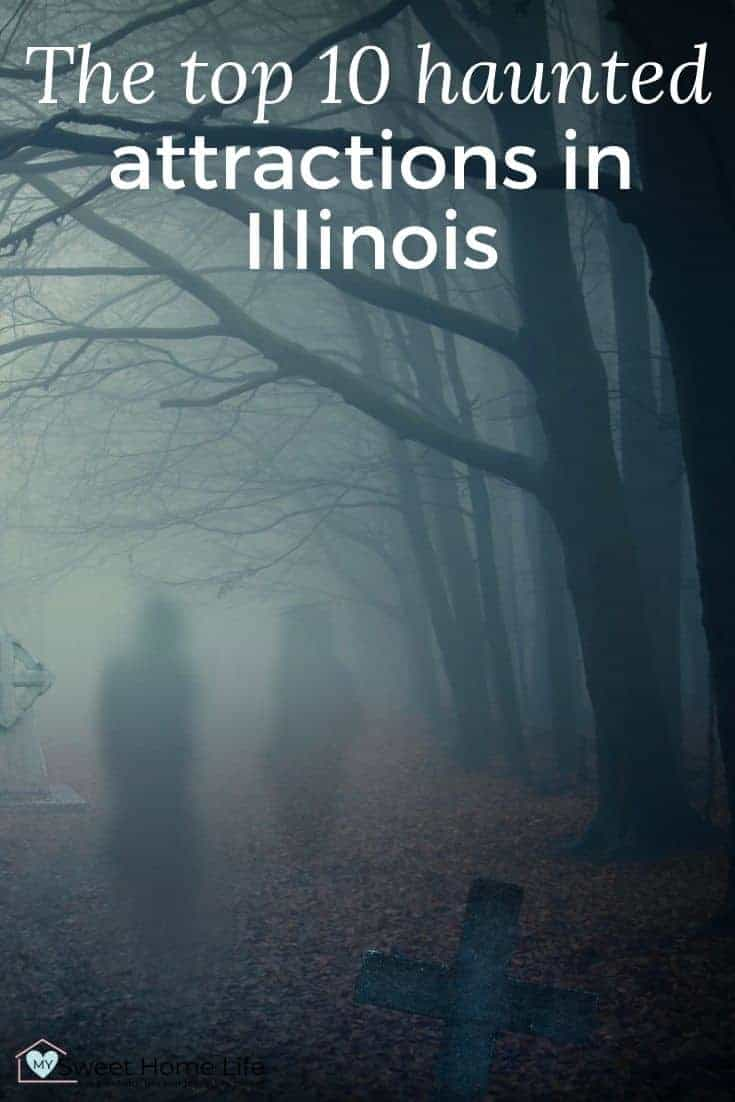 Blurry figures in a cemetery at dusk,with the text overlay, The Top 10 haunted attractions in Illinois