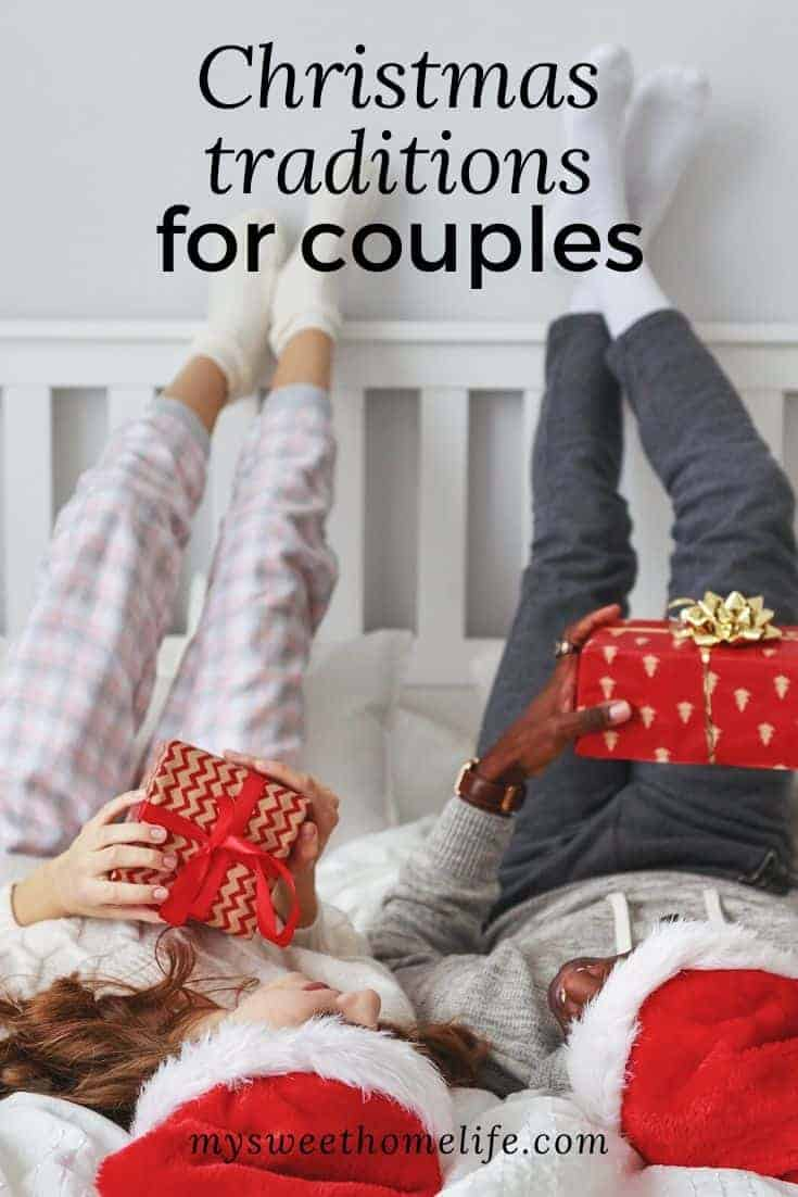 A couple lying on the bed with Santa hats on with the text overlay,