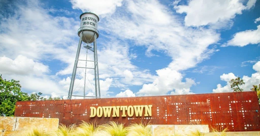 A shot of the historic water tower in Round Round a perfect spot for a fun weekend getaway in Texas
