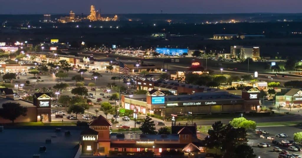 San Marcos outlet aerial shot - a fun weekend getaway from Austin