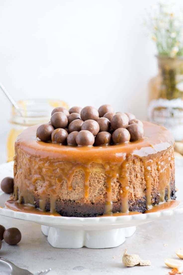 A choc caramel Easter cheesecake with mini choc eggs on top