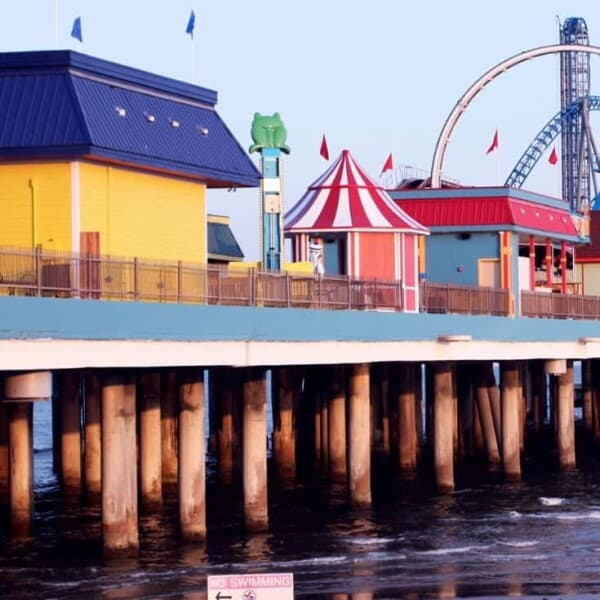 The Galveston pier, which is one of the places suggested as a cheap weekend getaway