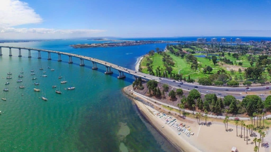 An overhead view of the Coronado Island: one of the weekend getaway spots near Los Angeles.