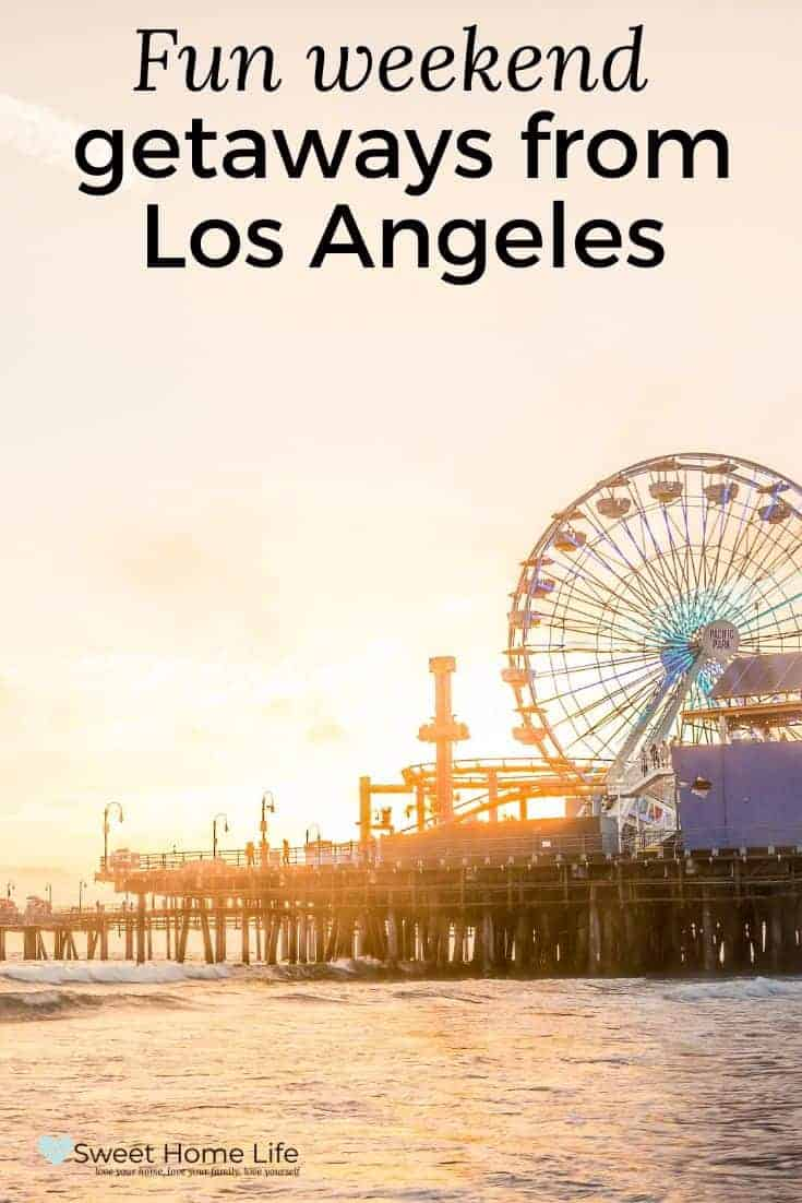 The Santa Monica pier at sunset with a view of the ferris wheel and the text overlay,
