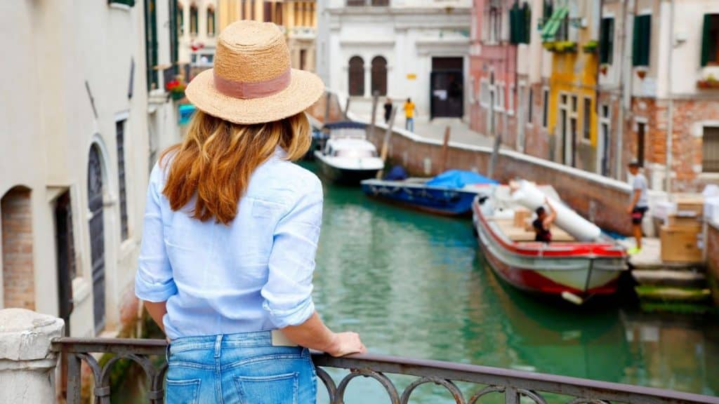 Woman traveling to Italy - a bucket list item.