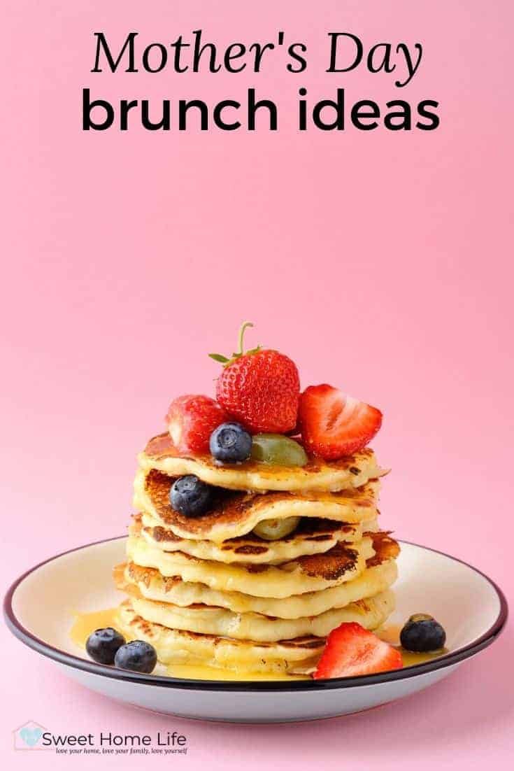 A plate of pancakes with a pink background with the text overlay,