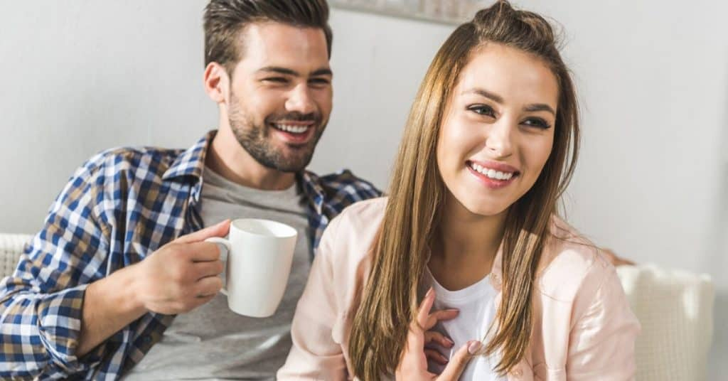 Couple having a stay at home date