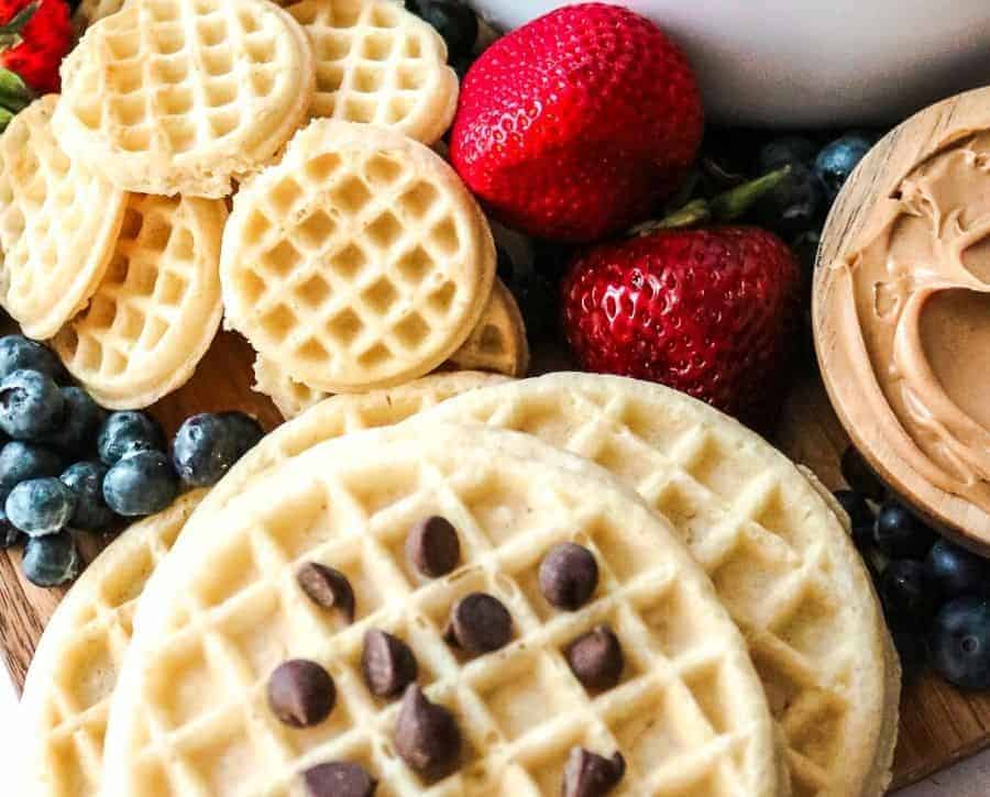 Chocolate chips on a waffle board