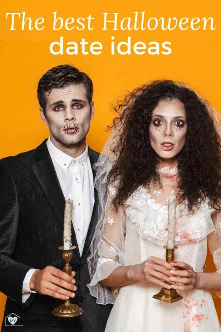 A couple dressed in Halloween costume with the text overlay The best Halloween date ideas