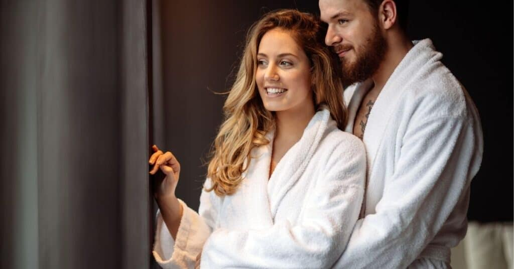 Couple in robes during their