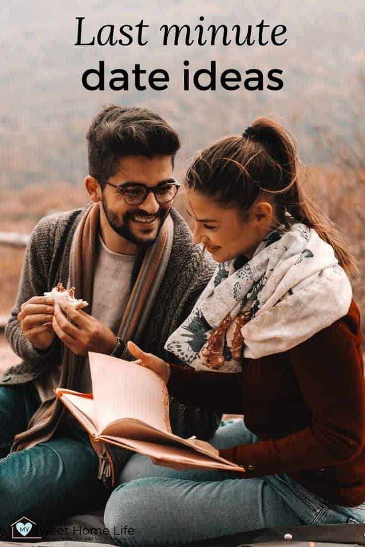 Couple laughing. She reads a book. The text says Last minute date ideas.